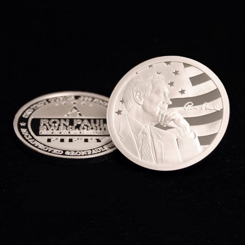 Front and Back of Ron Paul 2012 1oz silver coin