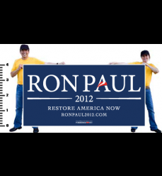 Ron Paul Official White on Navy Vinyl Banner